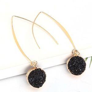 Black Drusy Round hoop Earrings